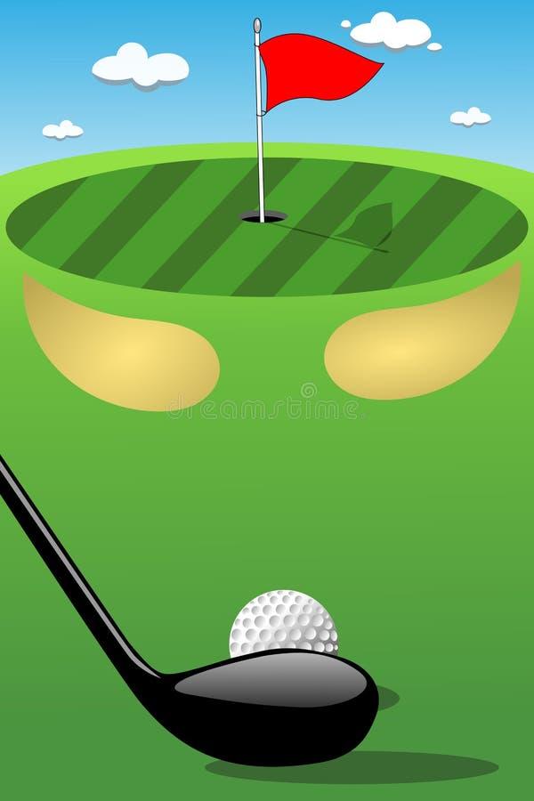 Sättande gräsplan för golfklubbboll som siktar skottet vektor illustrationer