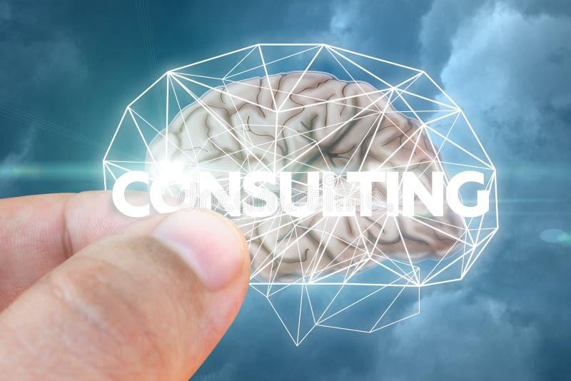 Sätter in ett ord av konsulterande rådgivning till hjärnan arkivfoto