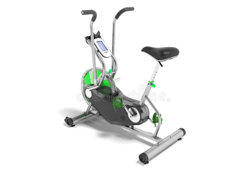 Sätter in grönt metalliskt för motionscykel med gräsplan det beträffande perspektivet 3d royaltyfri illustrationer