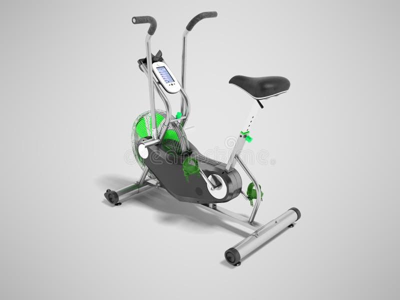 Sätter in grönt metalliskt för motionscykel med gräsplan perspektivet 3d framför på grå bakgrund med skugga stock illustrationer