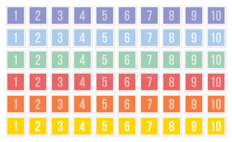 Sätze Briefmarken mit Zahlen stock abbildung