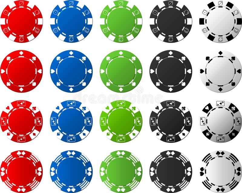 4 Sätze Pokerchips - je 5 Stücke stockbild
