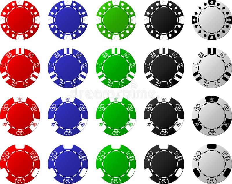 4 Sätze Pokerchips - je 5 Stücke lizenzfreies stockfoto
