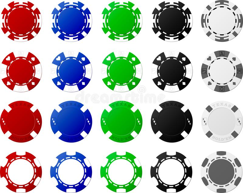 4 Sätze Pokerchips - je 5 Stücke lizenzfreie stockfotos