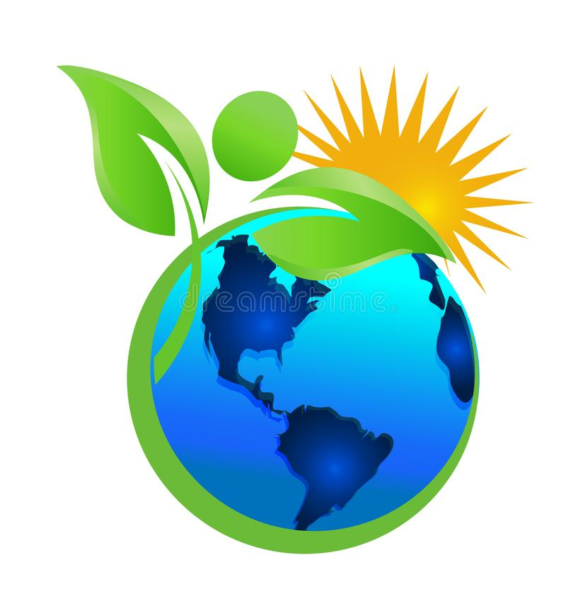 Säubern der Erde und der Umwelt, Mutter Natur, Ikonenvektor stock abbildung