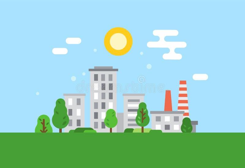 Säubern Sie ökologisch Stadt, Umweltschutz, vorsichtige Haltung zu den natürlichen Ressourcen lizenzfreie abbildung