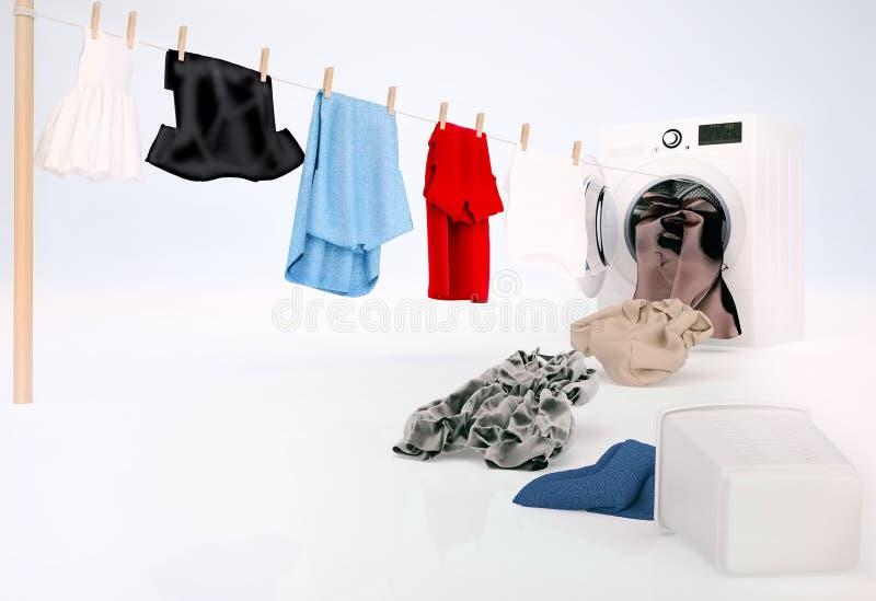 Säubern Sie die Kleidung, die an einem Seil hängt, welches aus die Waschmaschine herauskommt stockbild