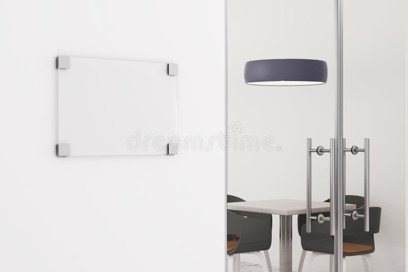 Säubern Sie Glasfahne auf weißer Wand lizenzfreie abbildung