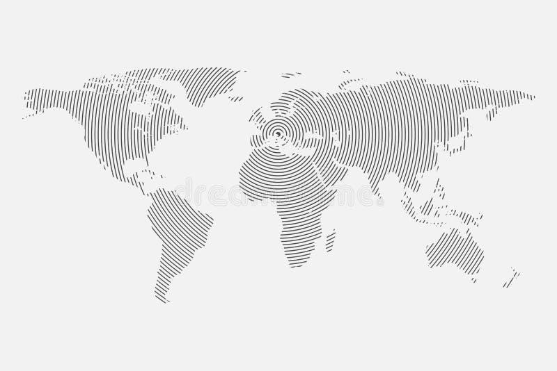 Säubern Sie graue Wellenweltkarte auf weißem Hintergrund centric lizenzfreie abbildung