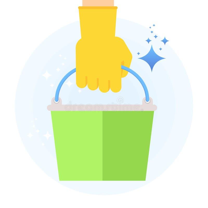 Säubern Sie Hand mit Eimer vektor abbildung
