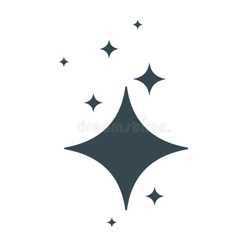Säubern Sie schwarze Ikone des Sternes lizenzfreie abbildung