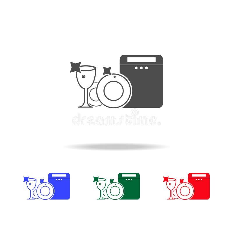 säubern Sie Teller von der Schreibmaschinenikone Elemente der Reinigung in den multi farbigen Ikonen Erstklassige Qualitätsgrafik vektor abbildung