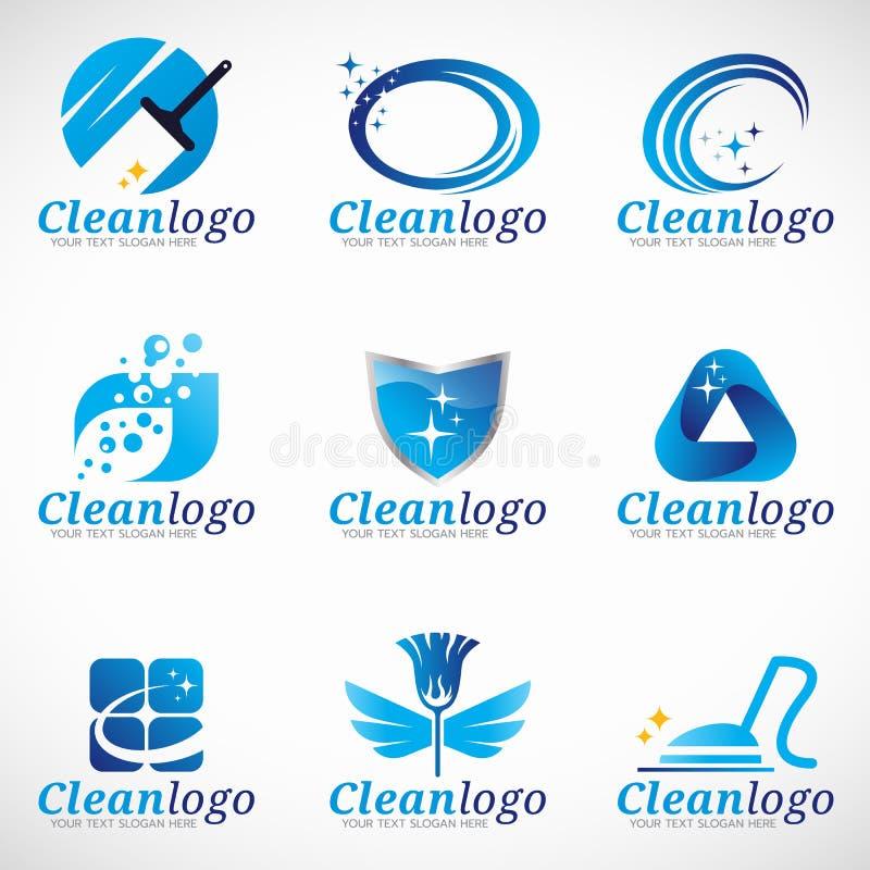 Säubern Sie und Haushaltungsservice-Logovektorbühnenbild stock abbildung
