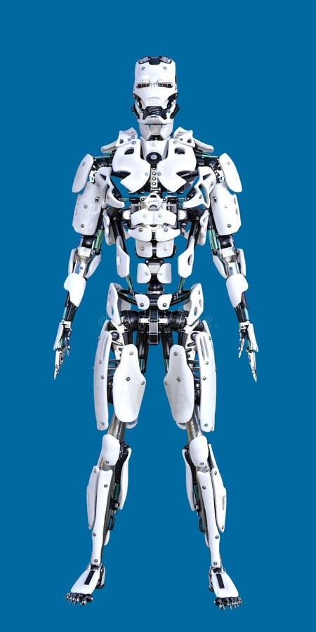 Säubern Sie weißen stehenden Cyborg-Roboter lizenzfreie abbildung