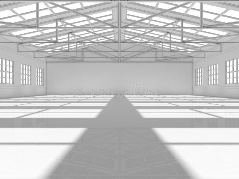 Säubern Sie weißes leeres Lager mit Fenstern vektor abbildung