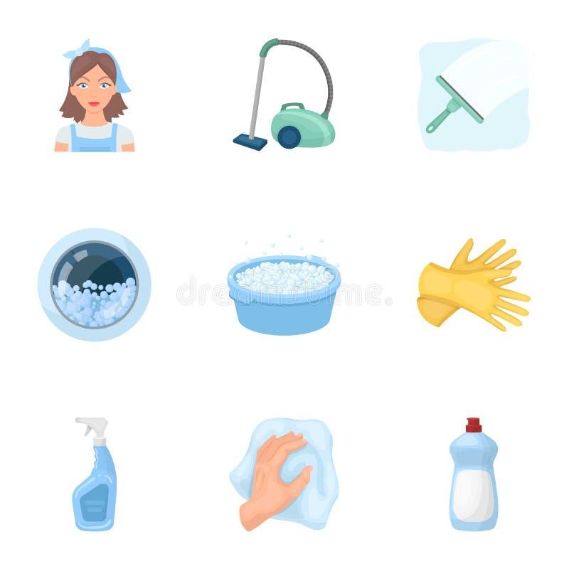 Säubern, waschend und alles angeschlossen mit ihm Ein Satz Ikonen für das Säubern Reinigungs- und Mädchenikone im Satz stock abbildung