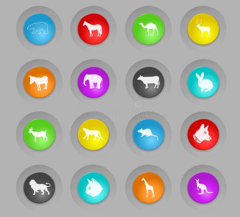 Säugetiere färbten Plastikrundenknopf-Ikonensatz lizenzfreie abbildung