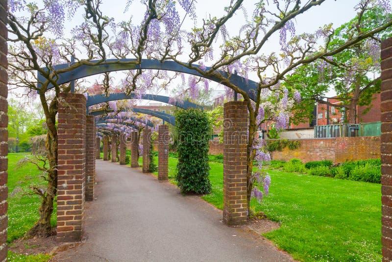 Säulengang im Freien mit Blumen, Southampton stockfotos