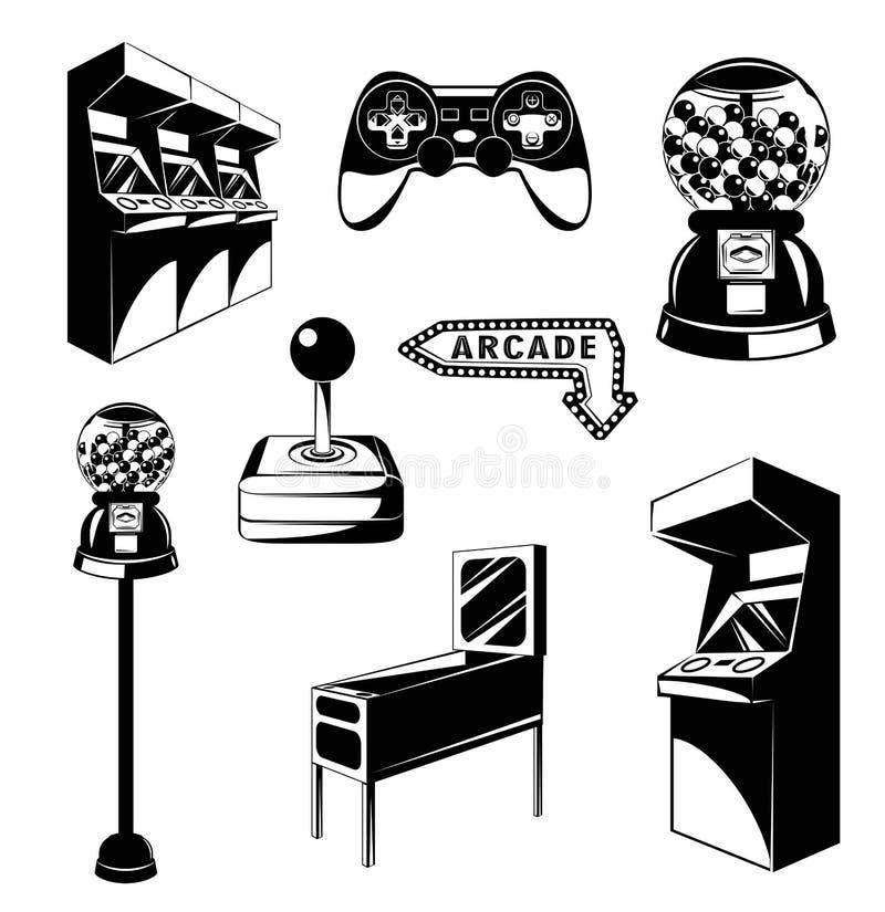 Säulengangraum Videospielsatz Spielautomat Computer-Videospiel Steuerknüppel und videopad Gumball Maschine vektor abbildung