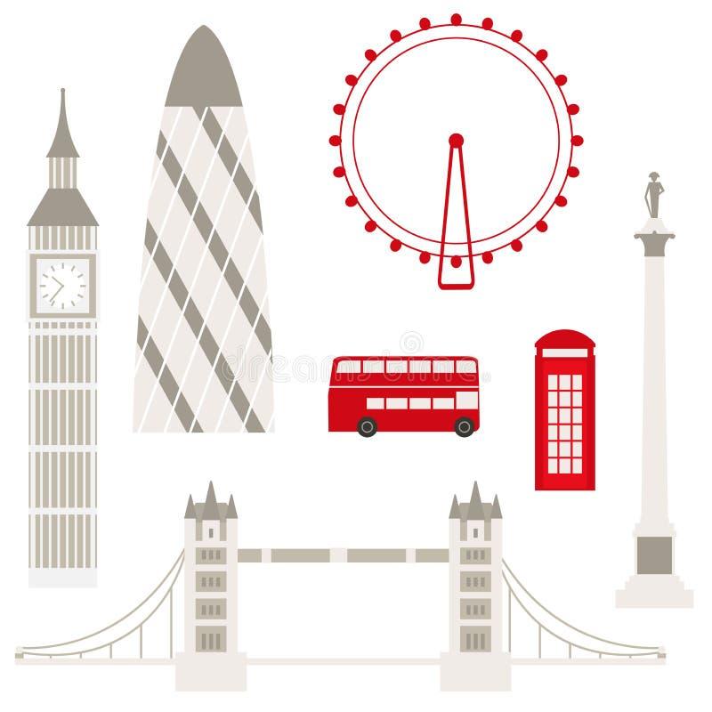 Sławni widoki Londyn na białym tle royalty ilustracja