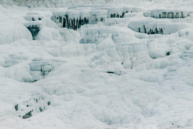 Sławny i zadziwiający termiczne wiosny Pamukkale lub bawełna kasztel na Denizli prowincji w Turcja zdjęcie stock