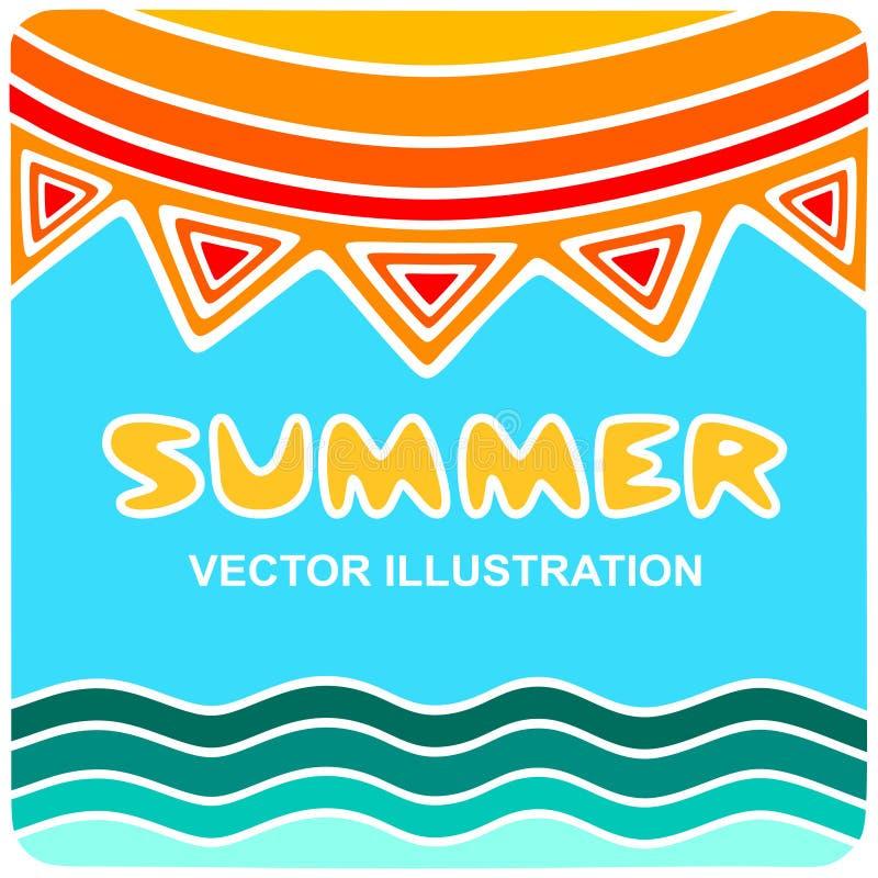 Słońce i denne fale, lato logo ilustracji