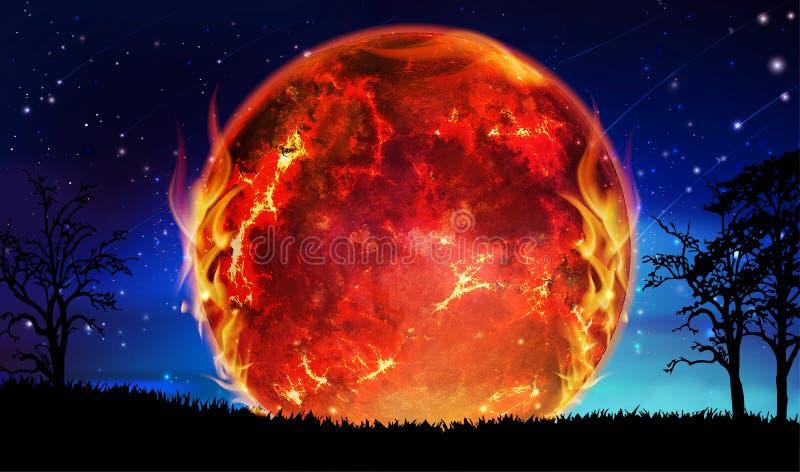 Słońce wybucha, palący w płomieniach, globalna katastrofa, planety zniszczenie ilustracji