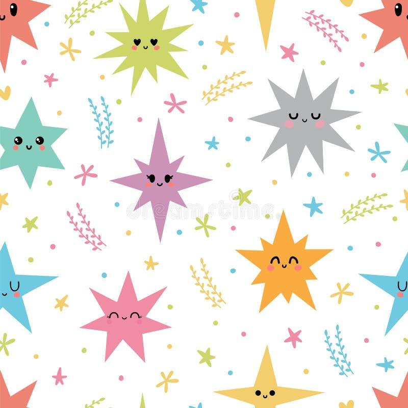Słodki bezszwowy wzór z kolorowymi smiley gwiazdami Romantyczny druk Śliczna ręka rysujący tło royalty ilustracja