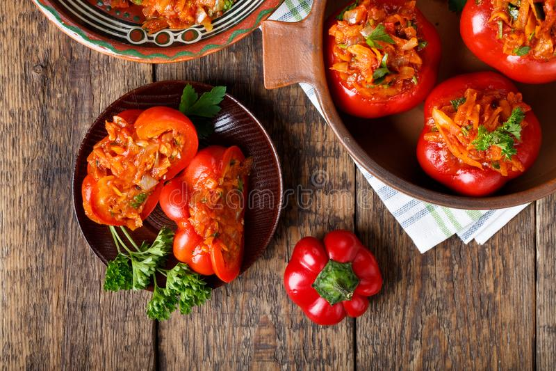 Słodki pieprz faszerujący z warzywami obrazy royalty free