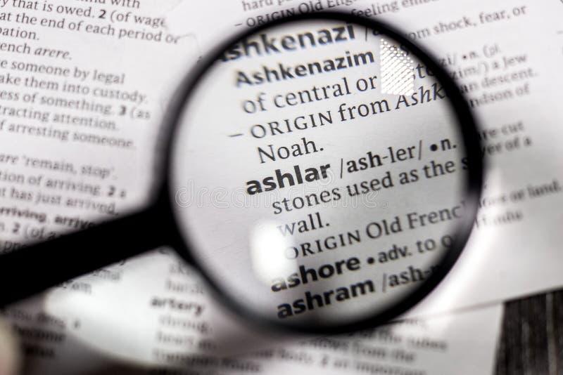 Słowa lub zwrota ashlar w słowniku zdjęcie stock