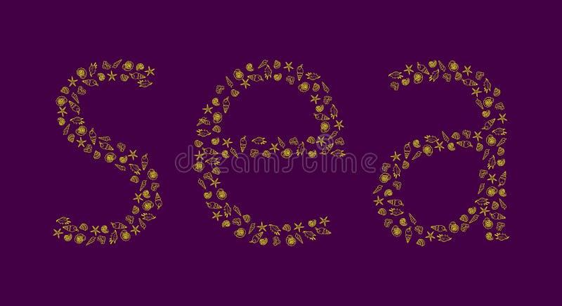 Słowa morze od konturów mollusks na purpurowym tle ilustracja wektor