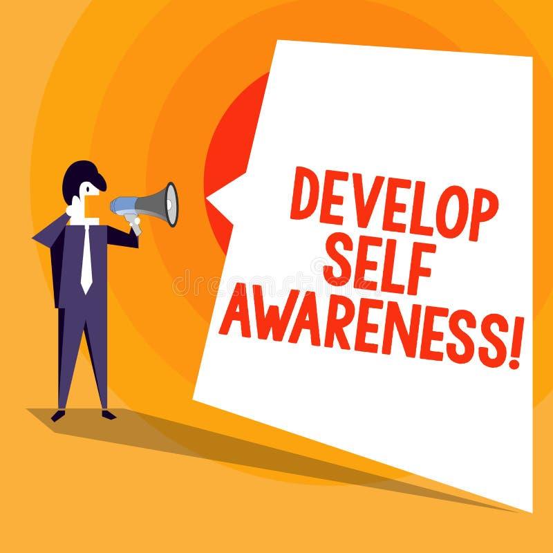 Słowa writing tekst Rozwija jaźni świadomość Biznesowy pojęcie dla ulepsza twój informacje o otaczających wydarzeniach ilustracji
