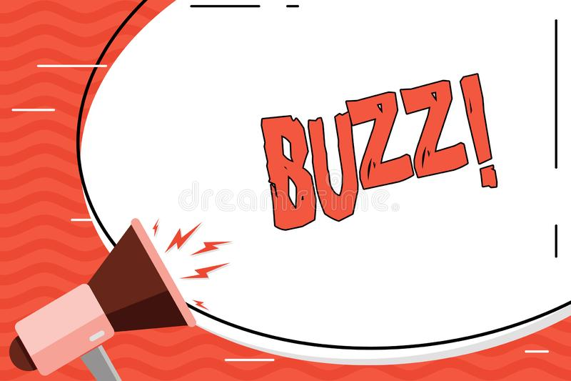 Słowa writing teksta brzęczenie Biznesowy pojęcie dla brzęczenia mruczenia trutnia Fizz pierścionku Sibilation Pyrka Alarmowego B royalty ilustracja