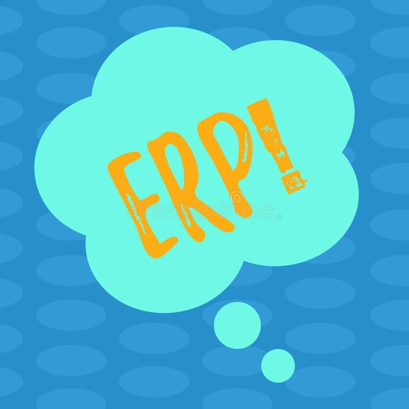 Słowa writing teksta Erp Biznesowy pojęcie dla przedsięwzięcie zasoby planowania z automatyzuje z powrotem biuro funkcji Pustego  royalty ilustracja