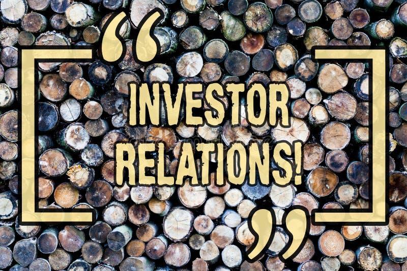 Słowa writing teksta inwestora powiązania Biznesowy pojęcie dla Finansowego Inwestorskiego związku Negocjuje udziałowa Drewnianeg zdjęcia royalty free