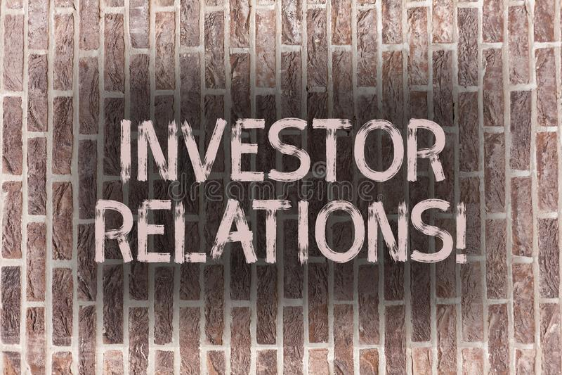 Słowa writing teksta inwestora powiązania Biznesowy pojęcie dla Finansowego Inwestorskiego związku Negocjuje udziałowiec cegłę zdjęcia stock