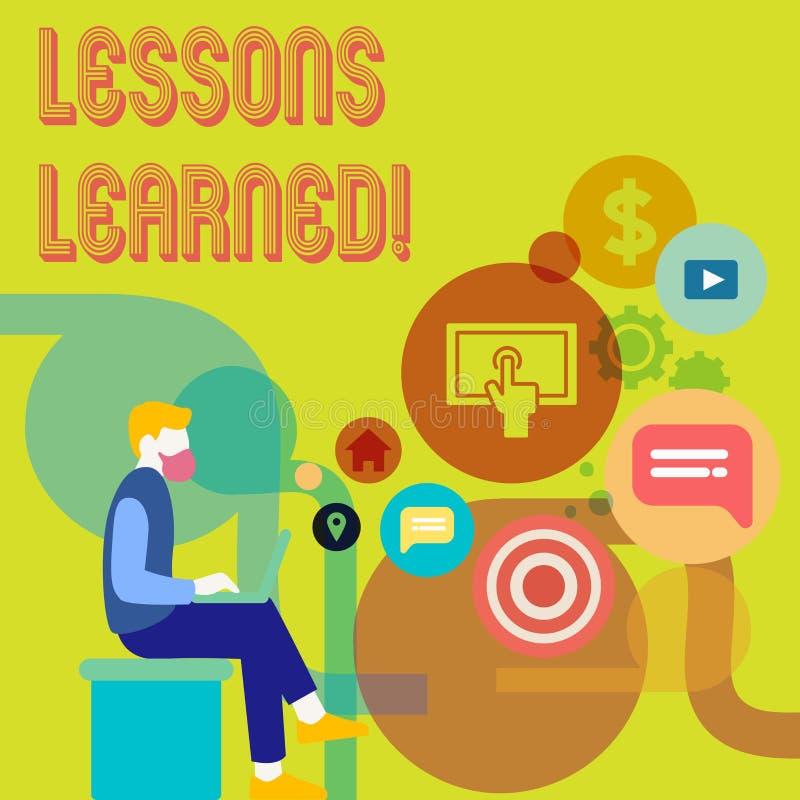 Słowa writing teksta lekcje Uczyli się Biznesowy pojęcie dla doświadczeń które muszą brać pod uwagę w przyszłości ilustracja wektor