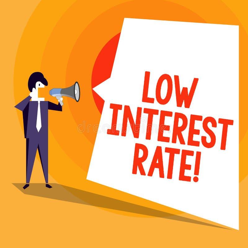 Słowa writing teksta Niskoprocentowy tempo Biznesowy pojęcie dla odsetka dodaje każdego roku na pożyczkowej inwestycji który depo royalty ilustracja