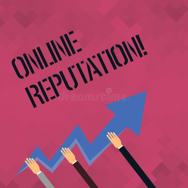 Słowa writing teksta Online reputacja Biznesowy pojęcie dla niezawodność rankingu przeglądu satysfakcji Szacunkowej ilości ilustracji