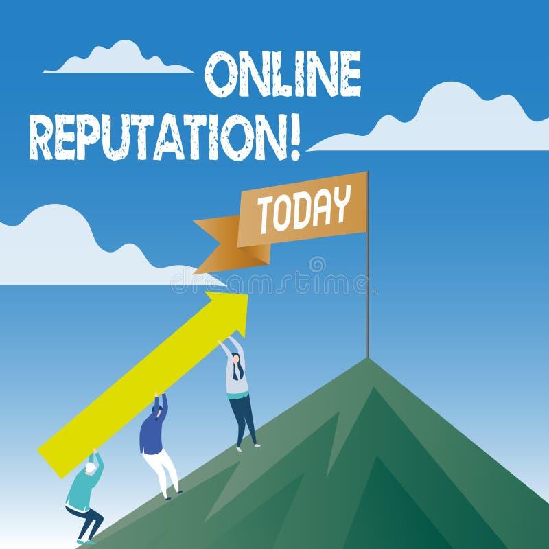 Słowa writing teksta Online reputacja Biznesowy pojęcie dla niezawodność rankingu przeglądu satysfakcji Szacunkowej ilości ilustracja wektor