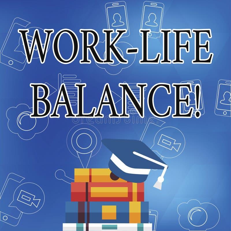 Słowa writing teksta pracy życia równowaga Biznesowy pojęcie dla podziału czas między pracować, rodzina lub czas wolny royalty ilustracja