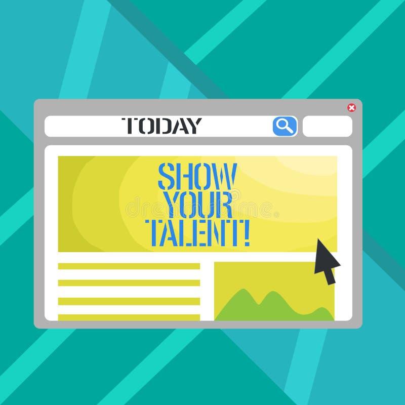 Słowa writing teksta przedstawienie Twój talent Biznesowy pojęcie dla Demonstrowałyśmy umiejętności zdolność demonstratingal wied royalty ilustracja