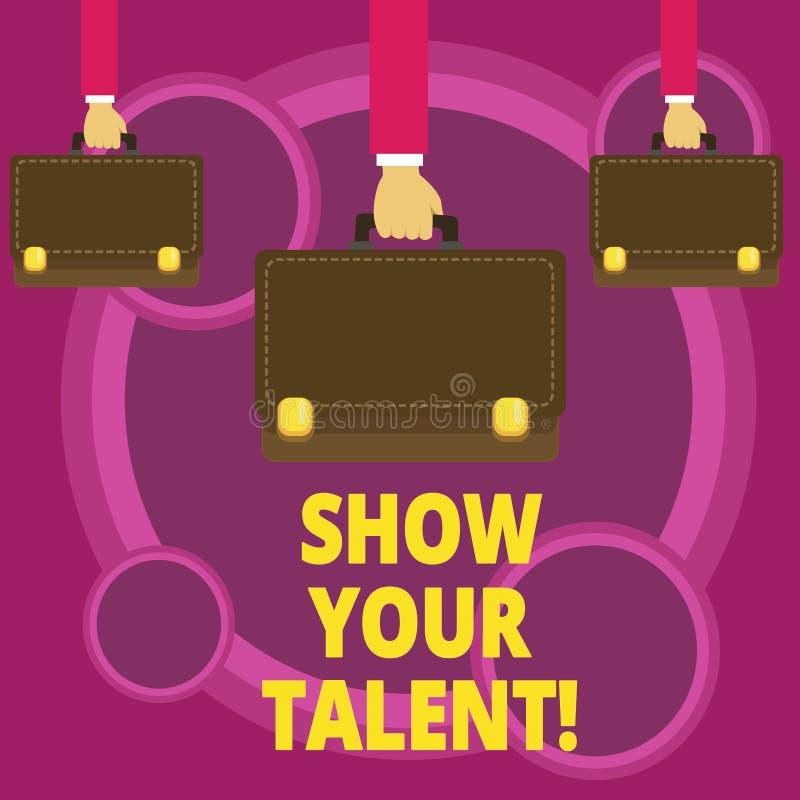 Słowa writing teksta przedstawienie Twój talent Biznesowy pojęcie dla Demonstrowałyśmy umiejętności zdolność demonstratingal wied ilustracja wektor
