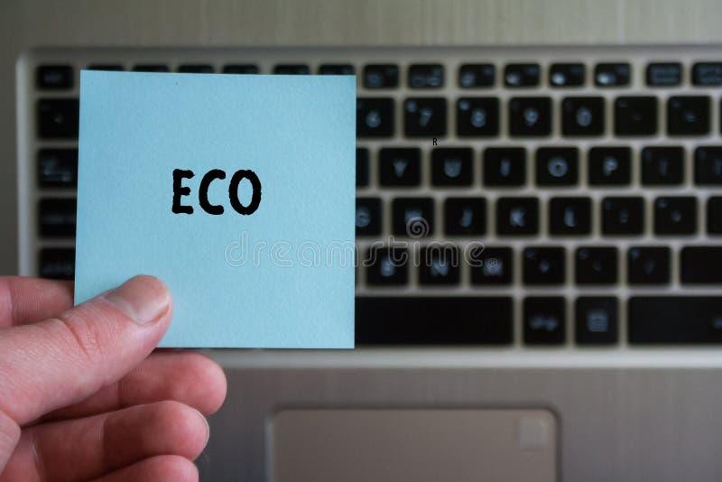 Słowo ECO na kleistym nutowym chwycie w ręce na klawiaturowym tle obraz royalty free
