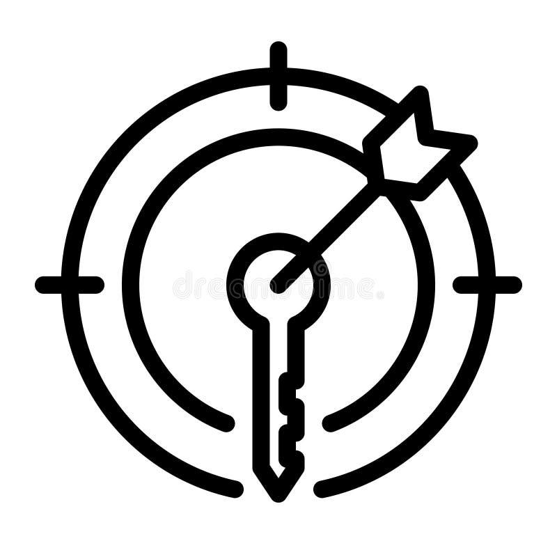 Słowo kluczowe celu ikona, zarysowywa czerń styl royalty ilustracja