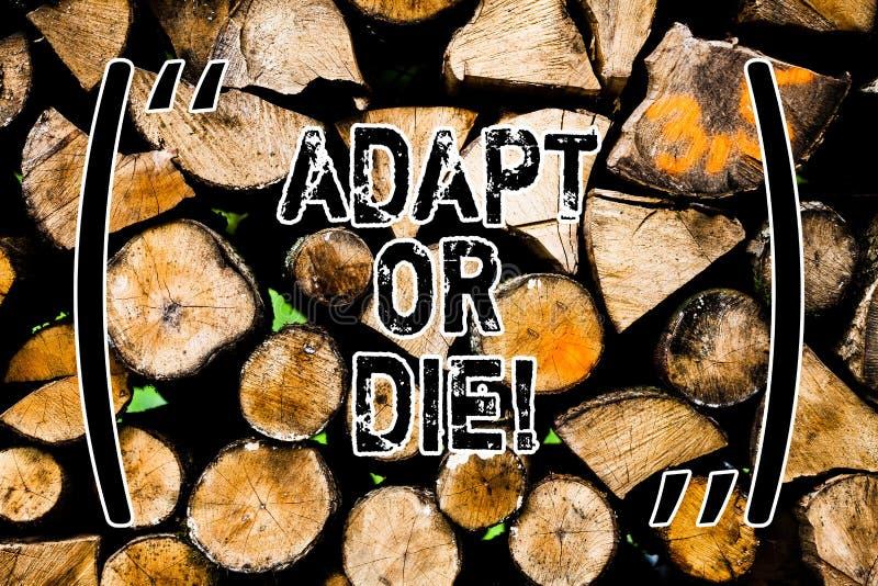 Słowo pisze tekscie Adaptuje Lub Umiera Biznesowy pojęcie dla Był elastyczny zmiany kontynuować działający twój biznes Drewnianeg obrazy royalty free