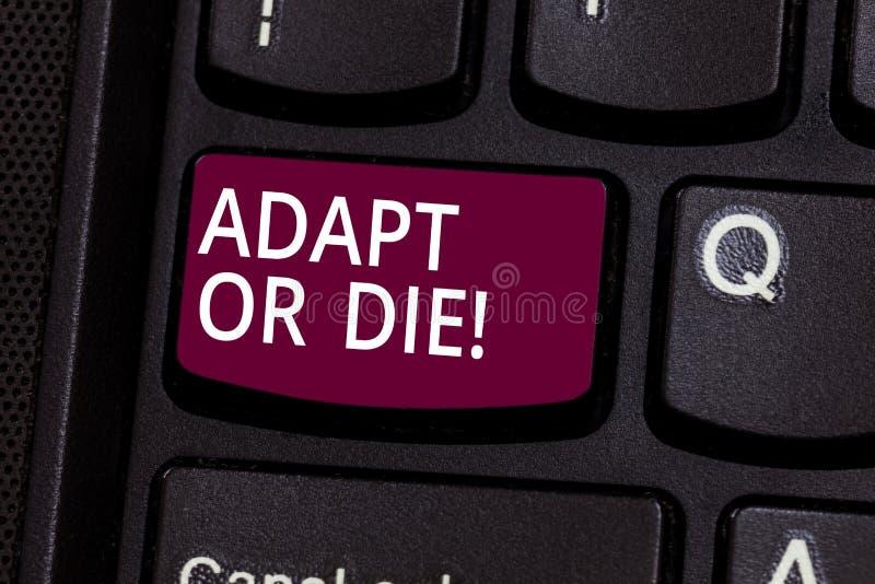 Słowo pisze tekscie Adaptuje Lub Umiera Biznesowy pojęcie dla Był elastyczny zmiany kontynuować działający twój biznesową klawiat ilustracja wektor