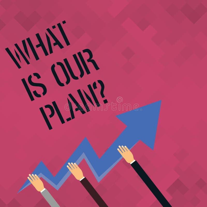 Słowo pisze tekscie Co Jest Nasz Planquestion Biznesowy pojęcie dla misji Zamierza agendy Strategize Brainstorming ilustracji