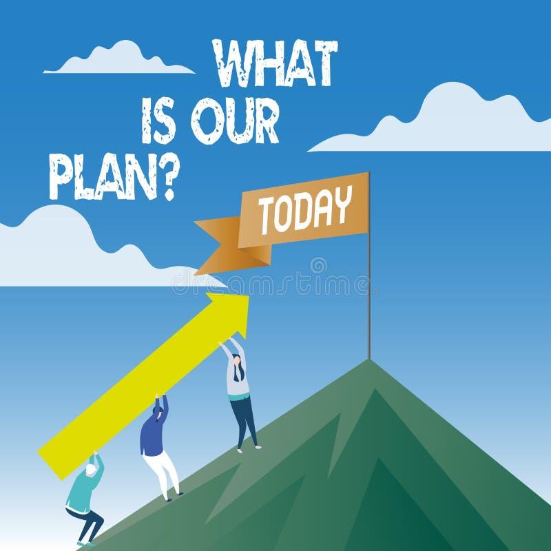 Słowo pisze tekscie Co Jest Nasz Planquestion Biznesowy pojęcie dla misji Zamierza agendy Strategize Brainstorming ilustracja wektor