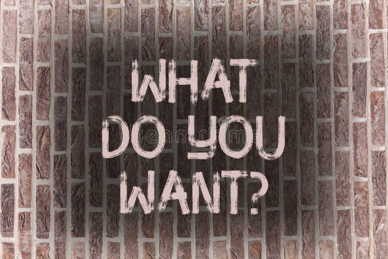Słowo pisze tekscie Co Robią Was Wantquestion Biznesowy pojęcie dla dążenie kontemplacji potrzeby Kontempluje Aspiruje cegłę ilustracji